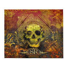 Load image into Gallery viewer, ORANGE GRUNGE SKULL ~ Throw Blanket - SIB.BLING RIVALRY