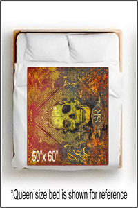 ORANGE GRUNGE SKULL ~ Throw Blanket - SIB.BLING RIVALRY