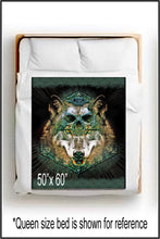 Load image into Gallery viewer, Wolf Skull ~ Throw Blanket - SIB.BLING RIVALRY