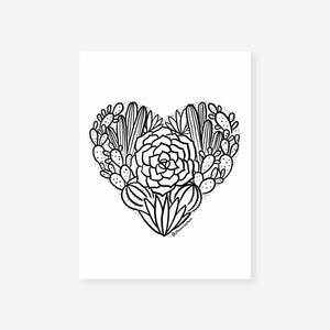 Desert Heart Coloring Sheet Digital Download