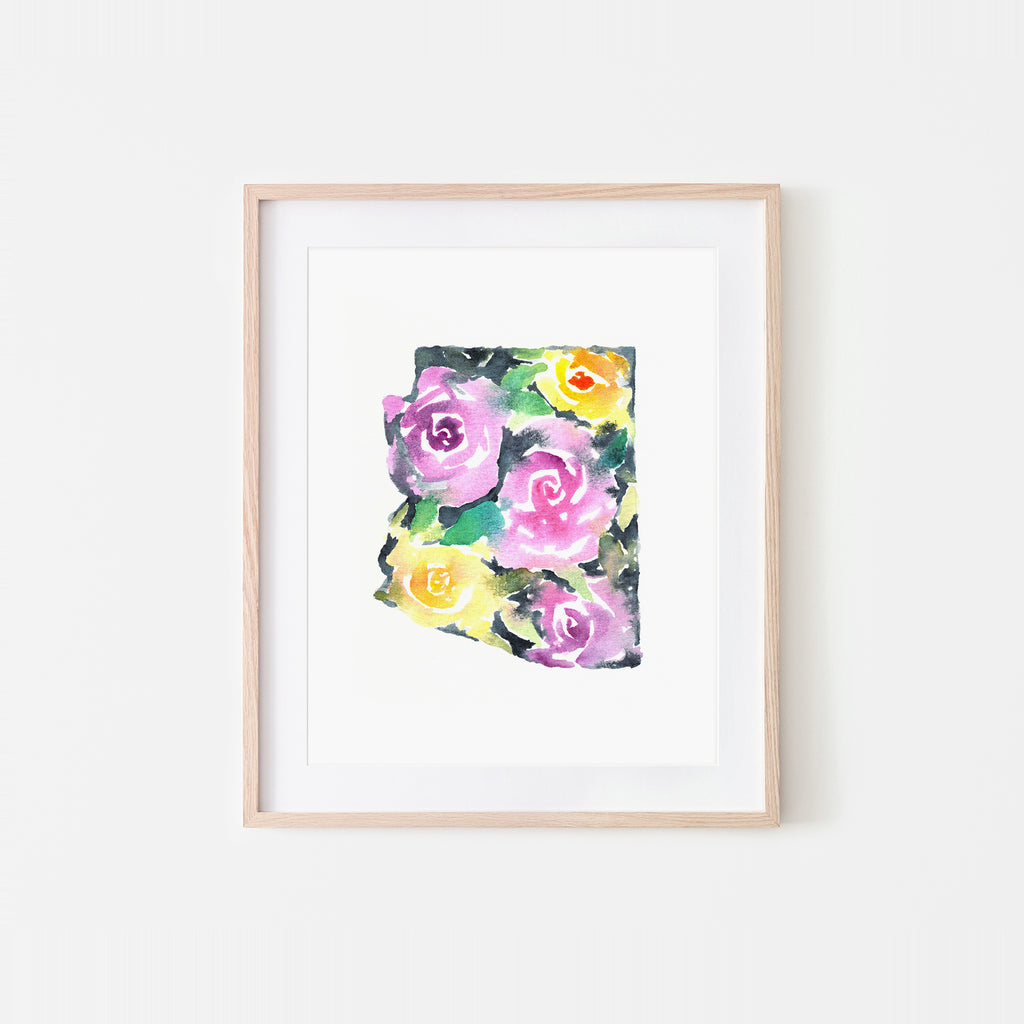 Arizona Bold Roses Watercolor Art Print