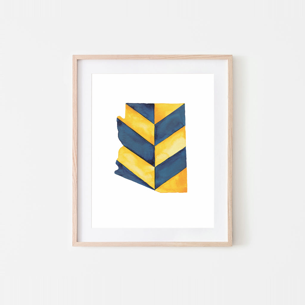 Arizona Chevrons Watercolor Art Print – NAU Colors