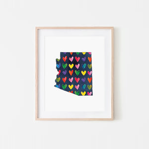 Arizona Hearts Watercolor Art Print