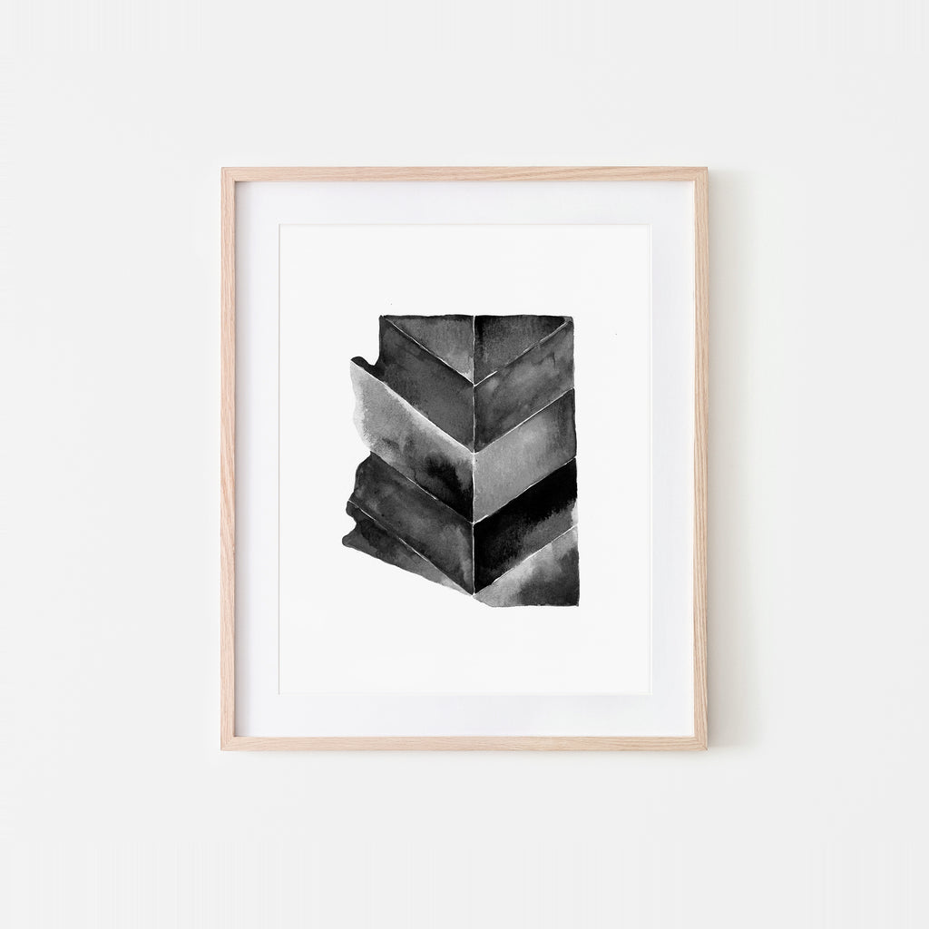 Arizona Monochrome Chevrons Watercolor Art Print