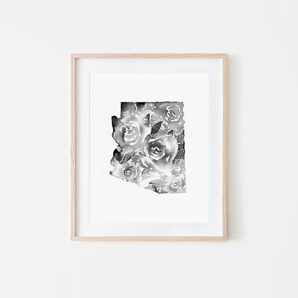 Arizona Monochrome Soft Roses Watercolor Art Print