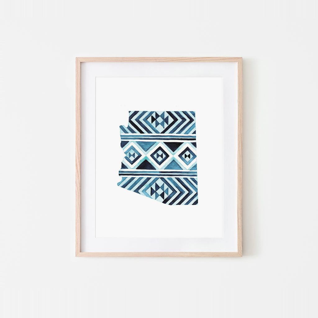 Arizona Indigo Navajo Rug Watercolor Art Print
