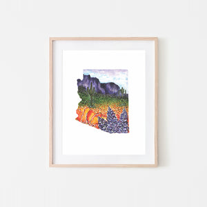 Arizona Superbloom Watercolor Art Print