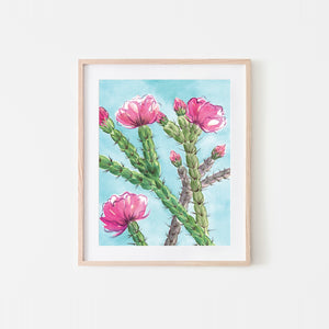 Candy Cane Cholla Watercolor Art Print