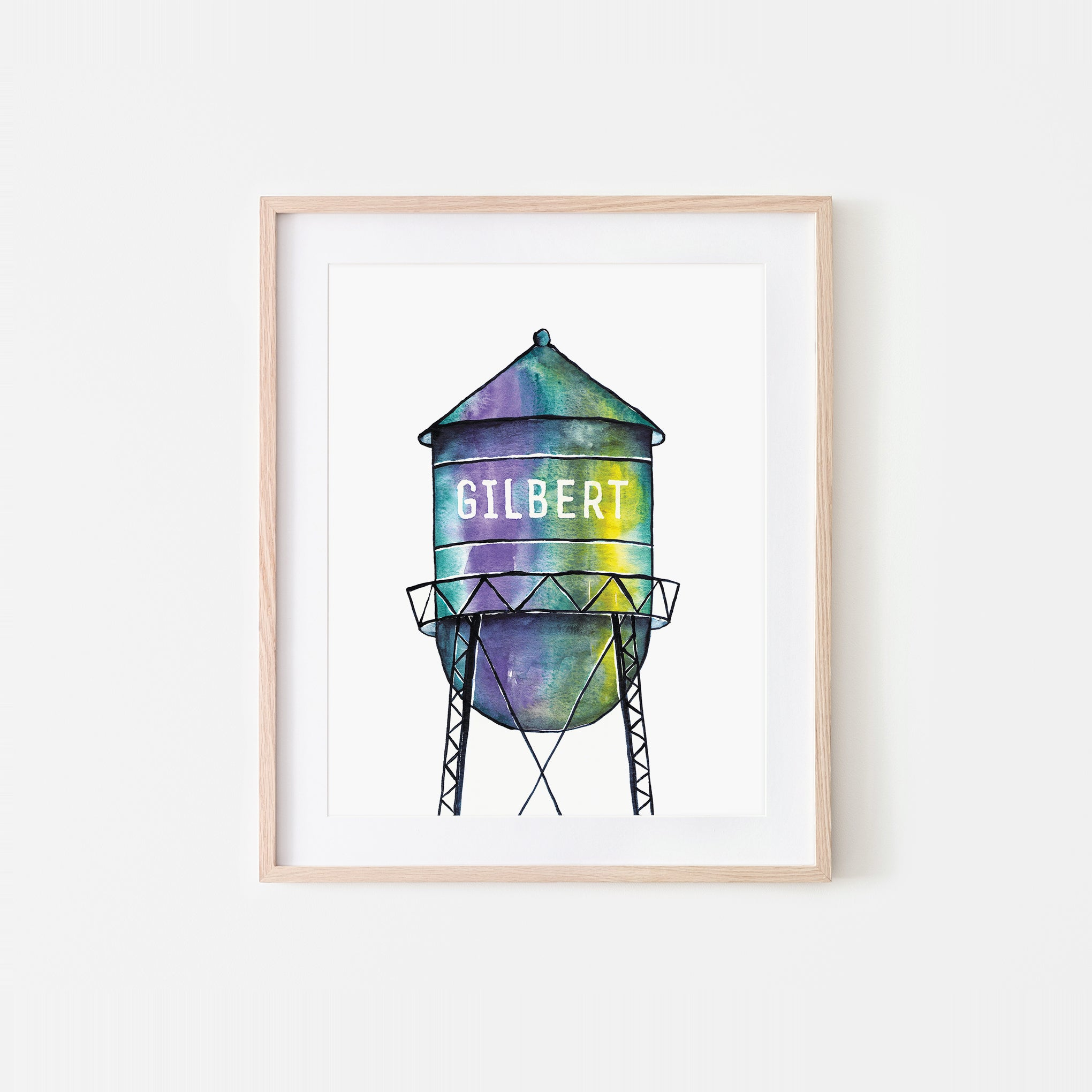 Gilbert Watertower Watercolor Art Print