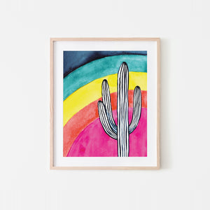Rainbow Saguaro Watercolor Art Print