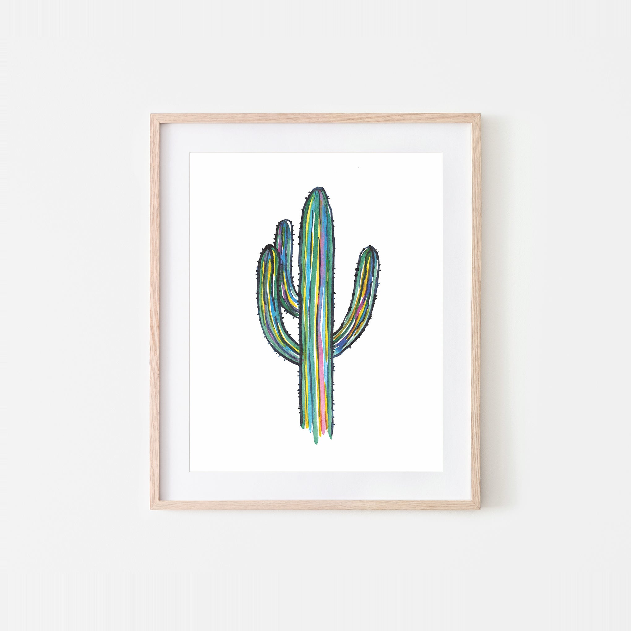 Sketchy Saguaro Watercolor Art Print