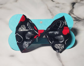 Black & Red Hearts Bowtie