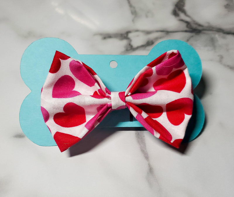 Pink & Red Hearts Bowtie - Go Local Pets