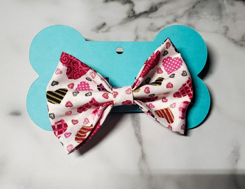 Pink & Gold Hearts Bowtie - Go Local Pets