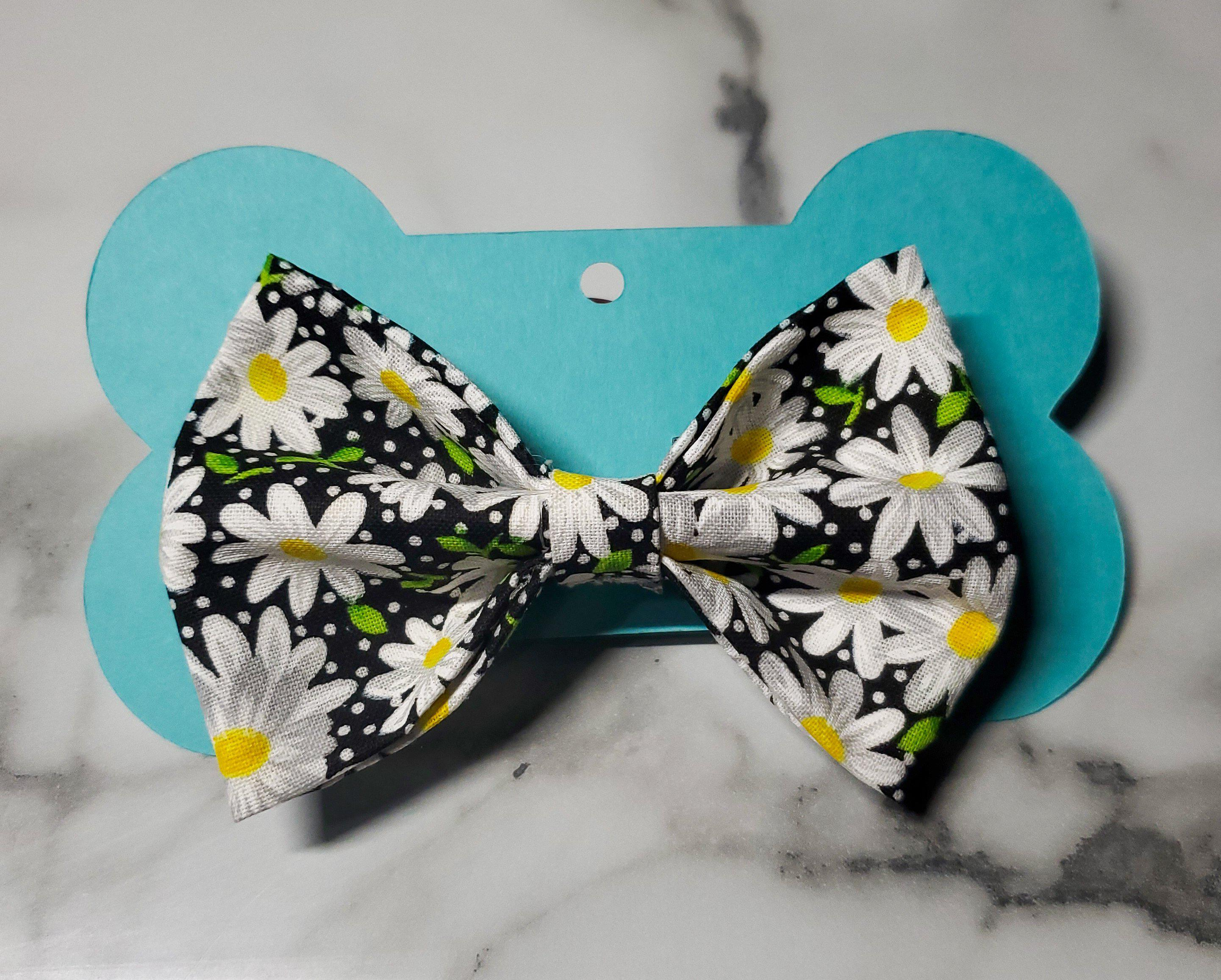 Black Daisy Bowtie-Go Local Pets