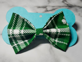 Green Clover Plaid Bowtie - Go Local Pets