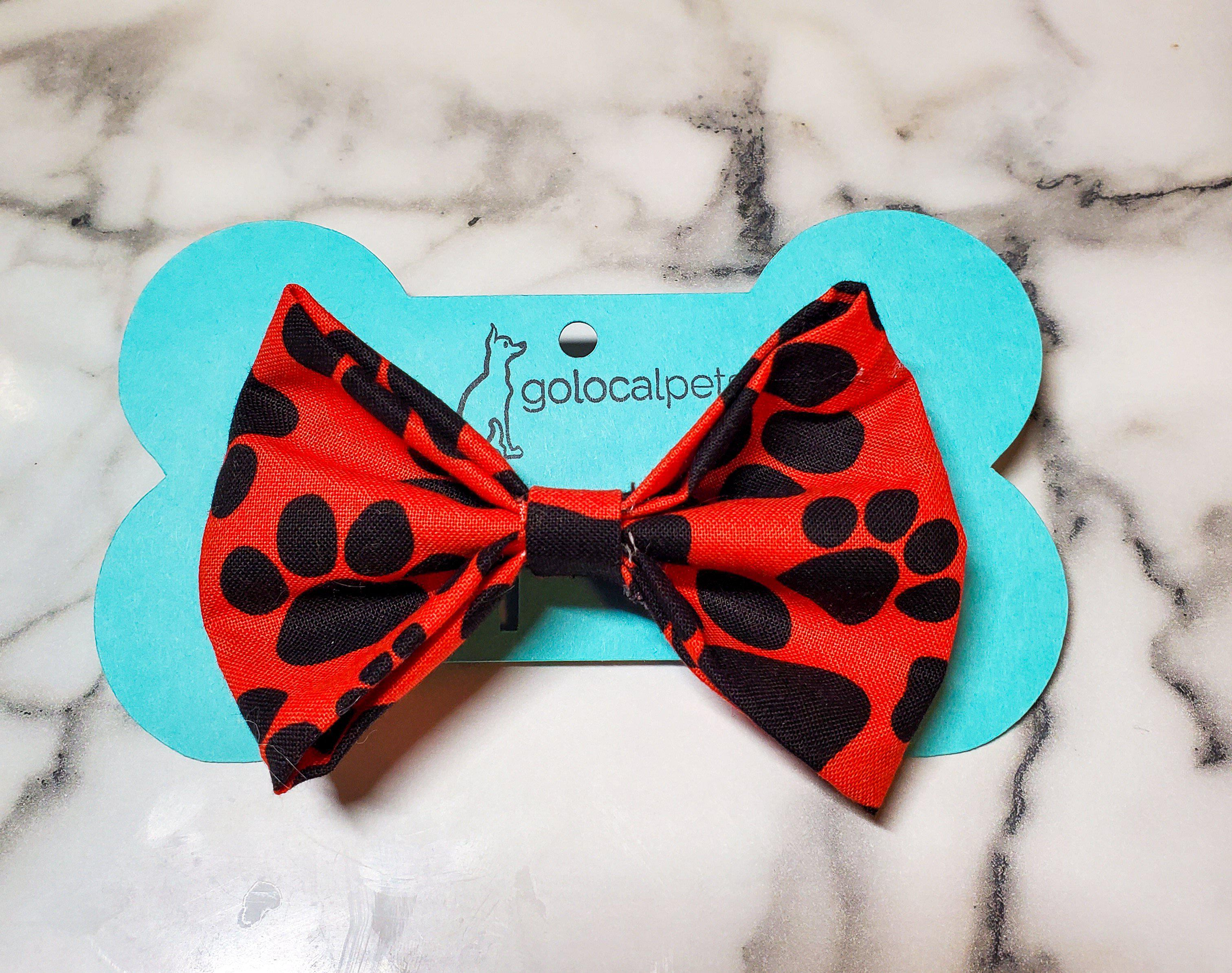 Red Pawprint Bowtie-Go Local Pets