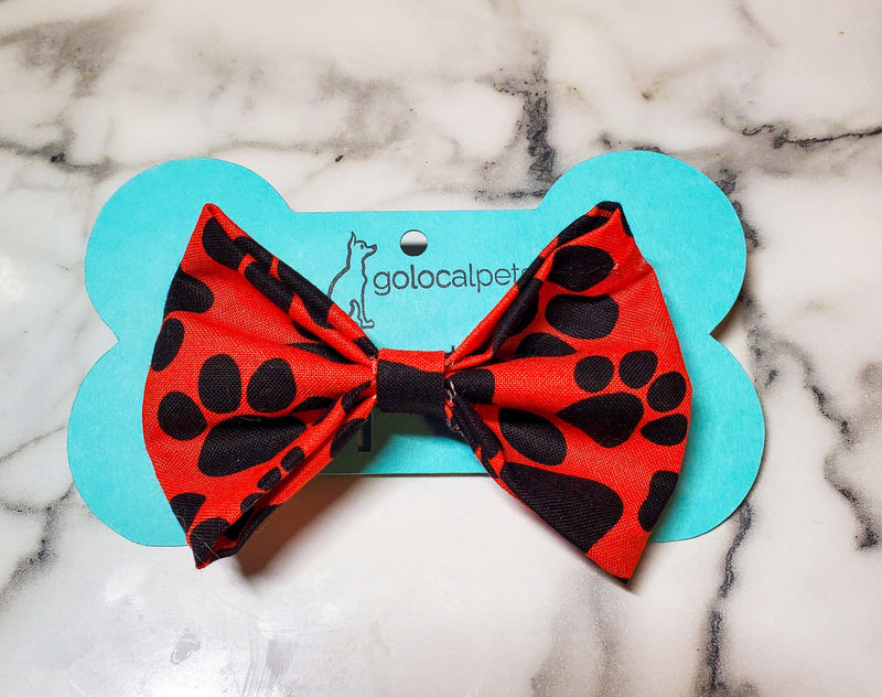 Red Pawprint Bowtie - Go Local Pets