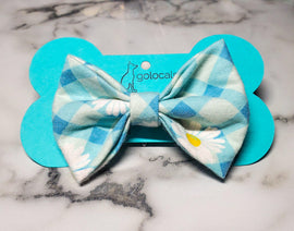 Blue Plaid Daisy Bowtie - Go Local Pets