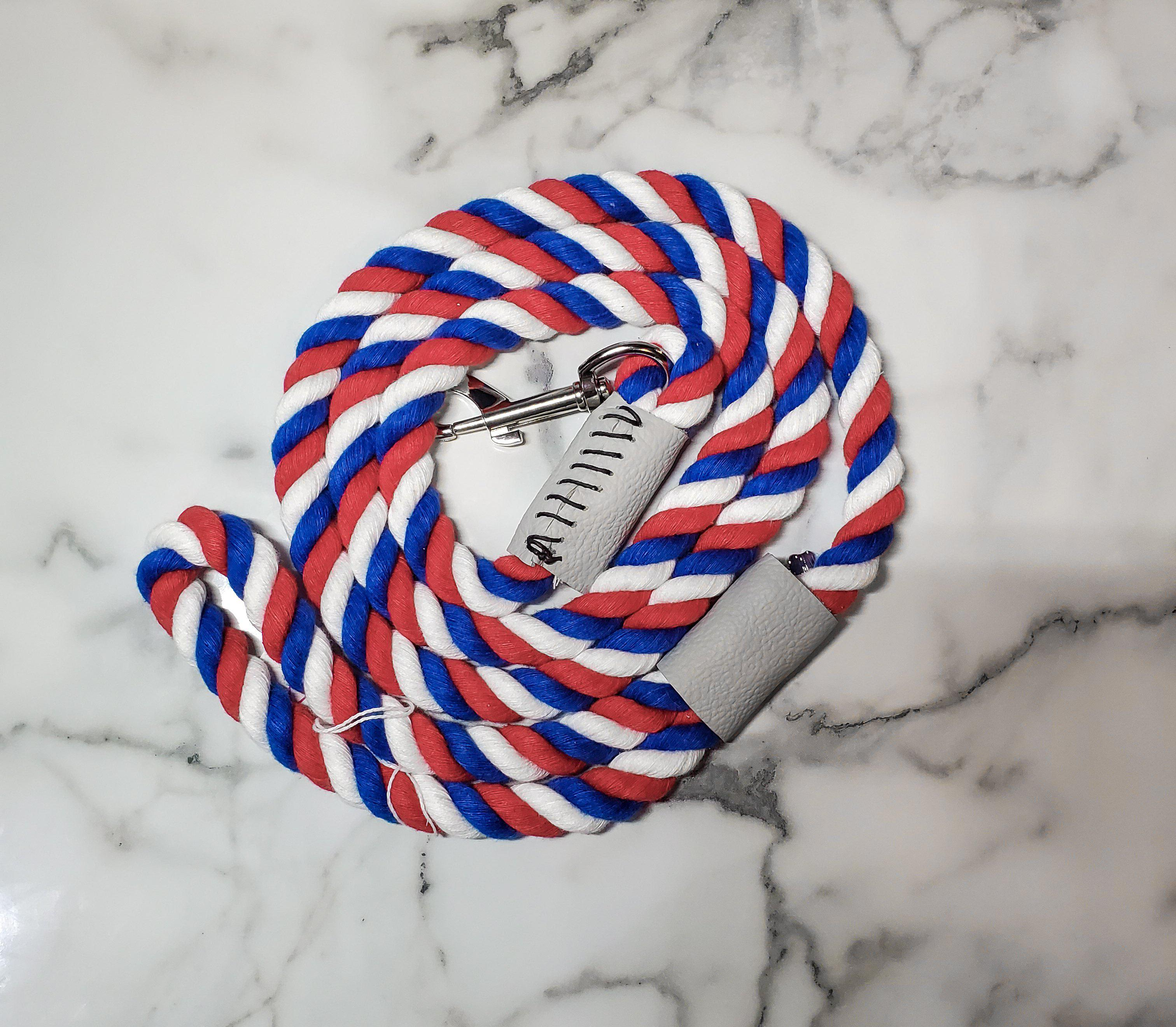 Red, White, and Blue Rope Leash-Go Local Pets