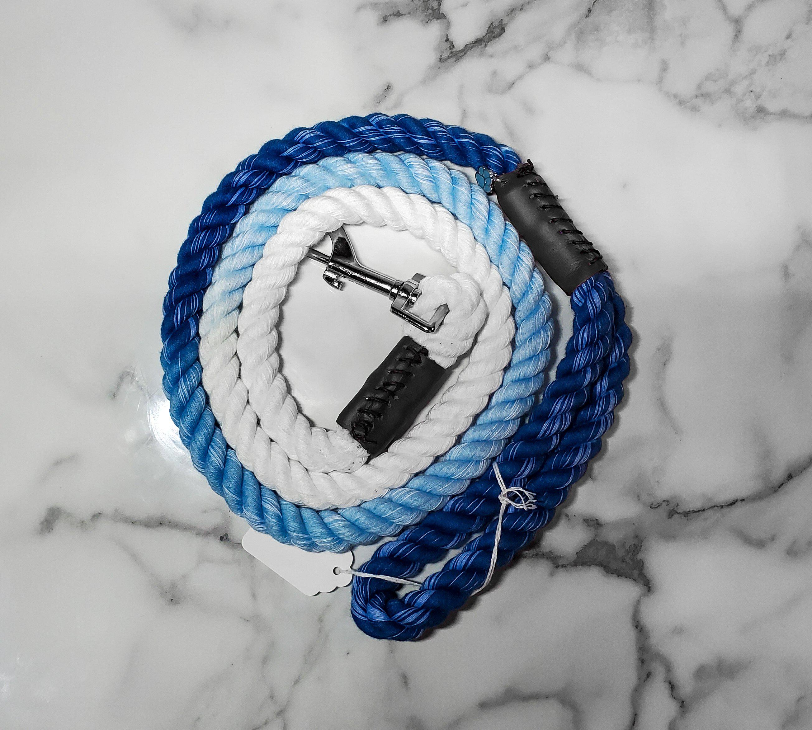 Navy Blue Ombre Rope Leash-Go Local Pets