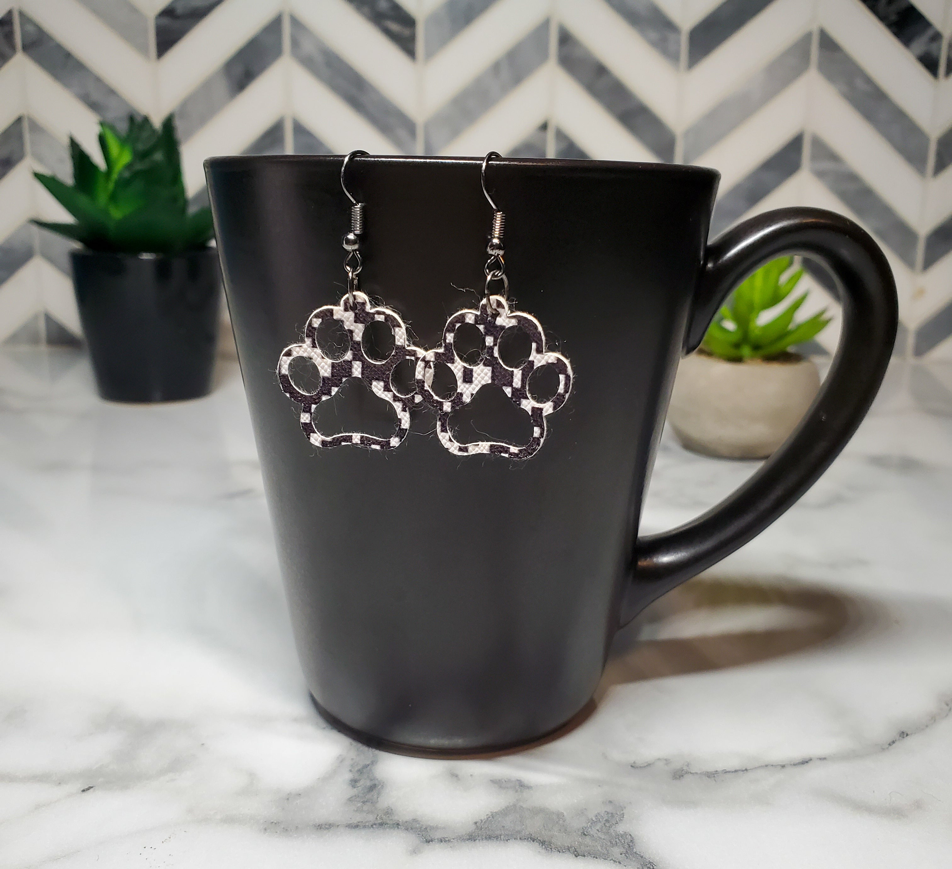 Paw Faux Leather Earrings-Go Local Pets