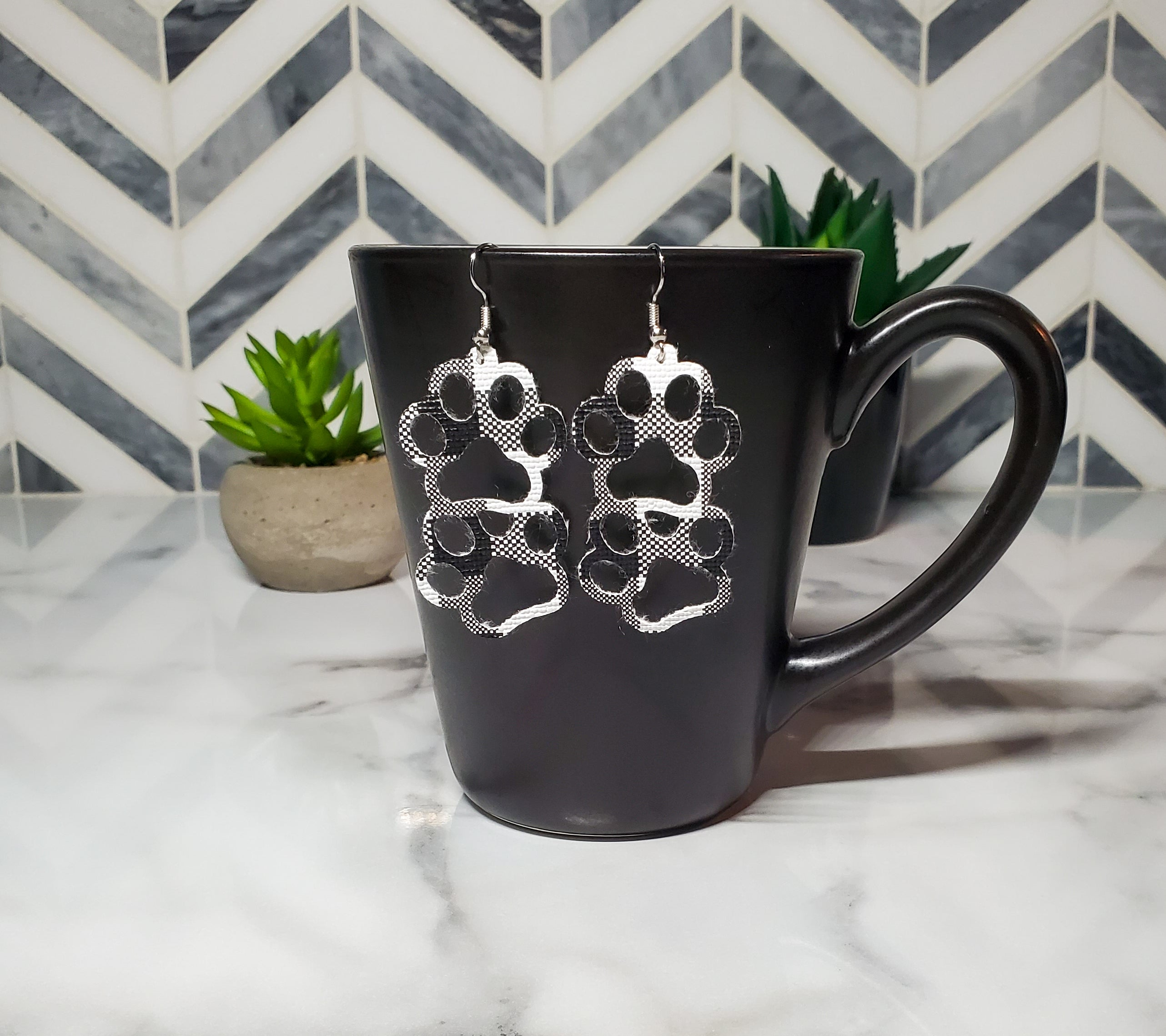 Black Plaid Paw Faux Leather Earrings