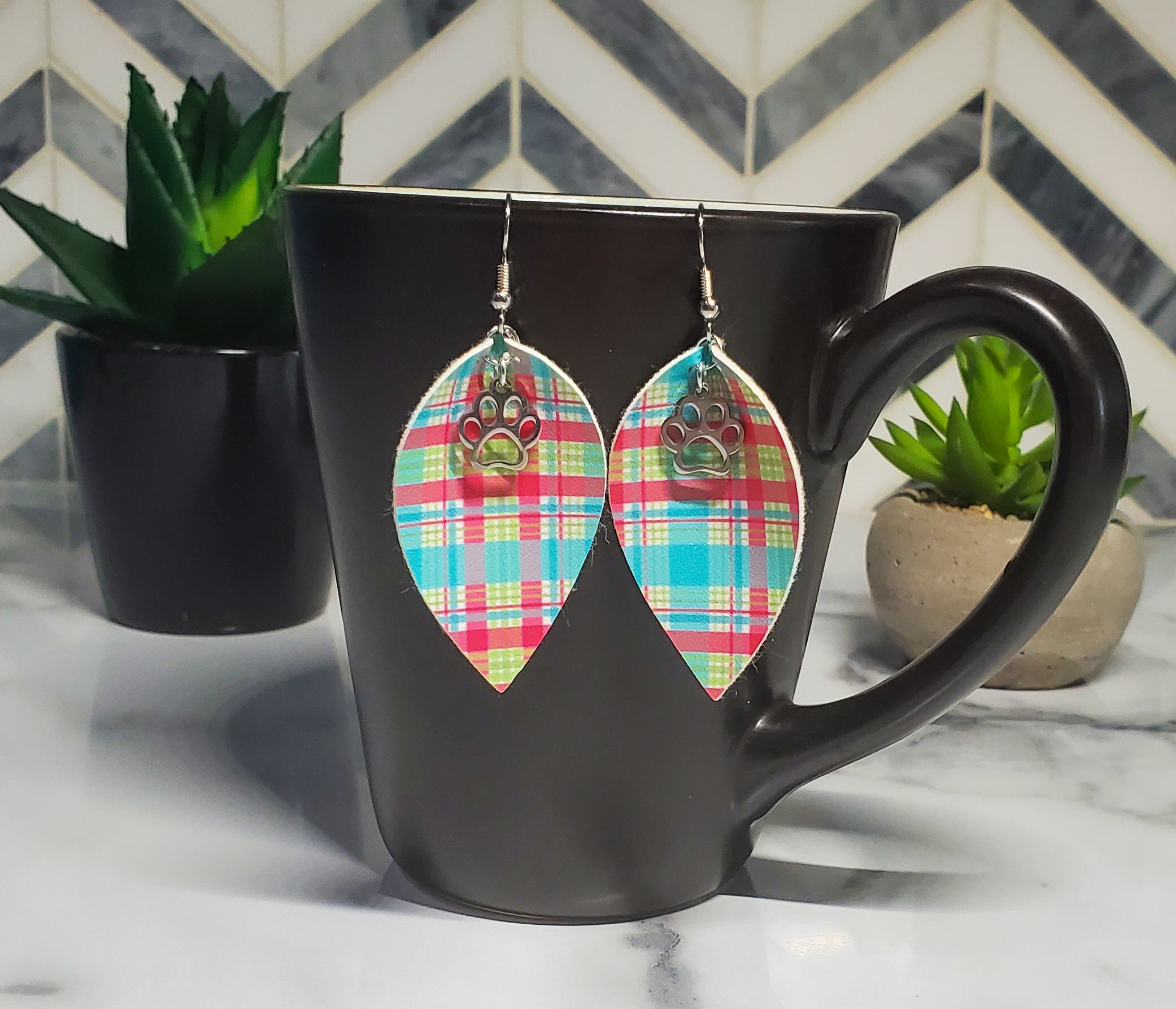 Bright Plaid Faux Leather Earrings