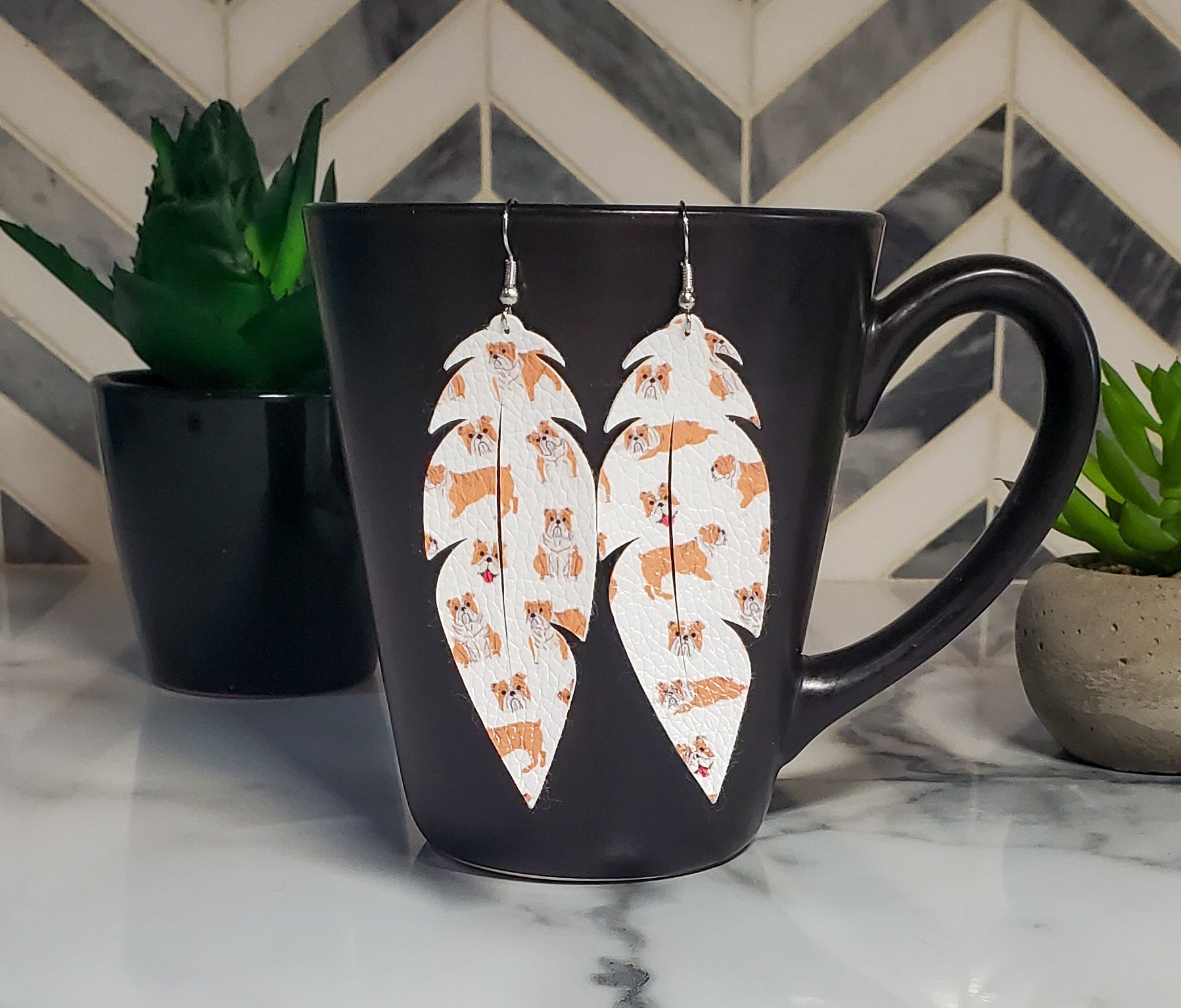 Bulldog Faux Leather Earrings