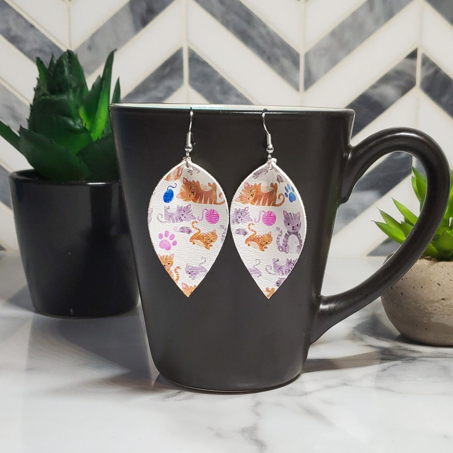 Kittens Faux Leather Earrings