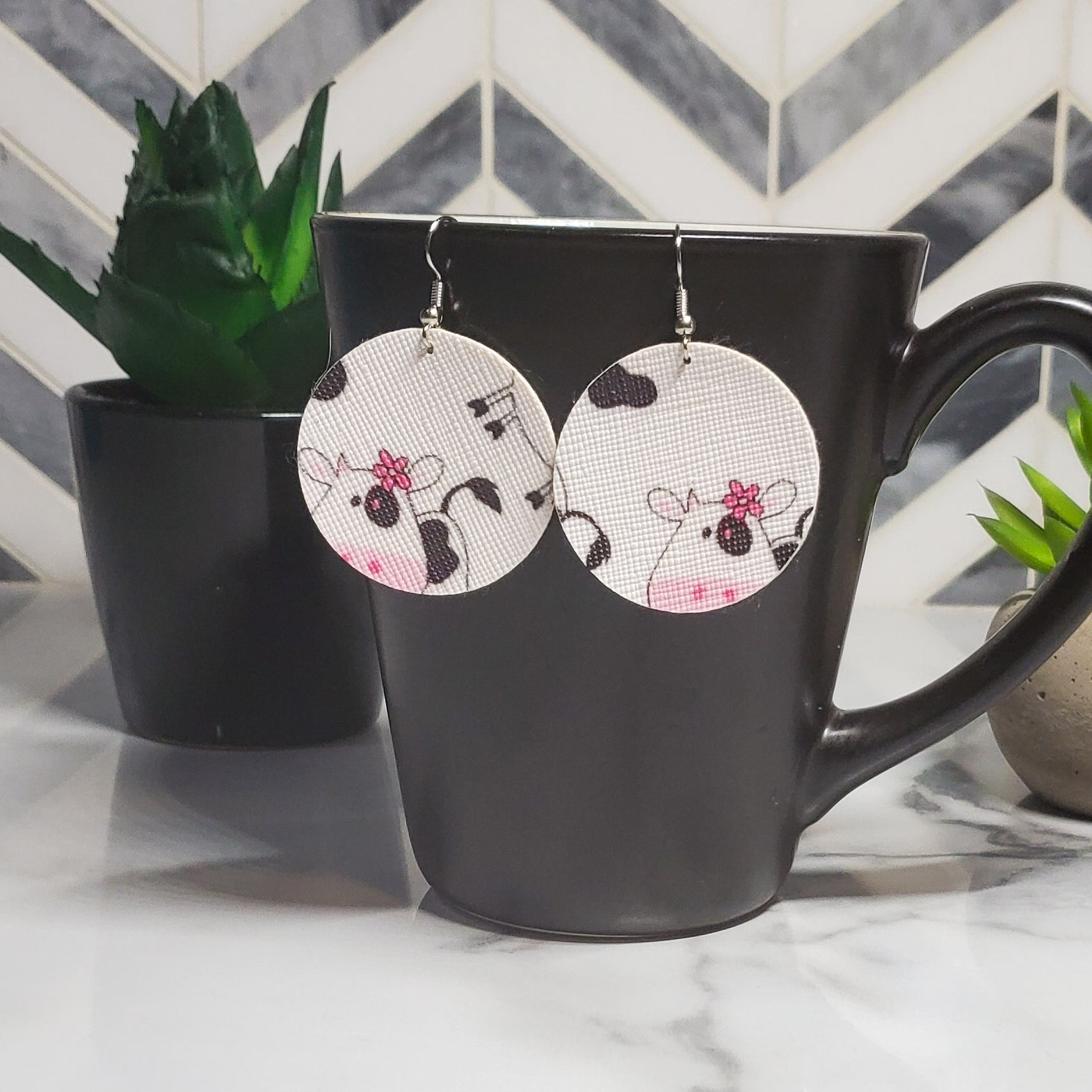 Moo Cow Faux Leather Earrings