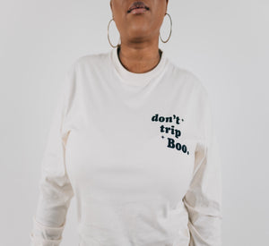 Don't Trip Long Sleeve Shirt - Vintage White