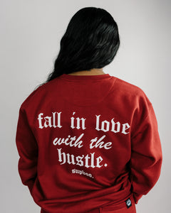 Love The Hustle Sweater - Cardinal Red