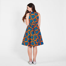 Load image into Gallery viewer, Sleeveless Midi Dress with belt Orange Knots