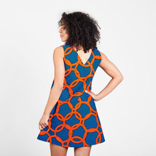 Load image into Gallery viewer, V-Neck Mini Dress Orange Knots