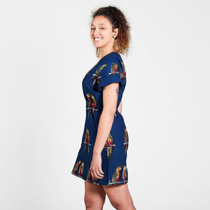 T-Shirt Mini Dress Blue Parrots