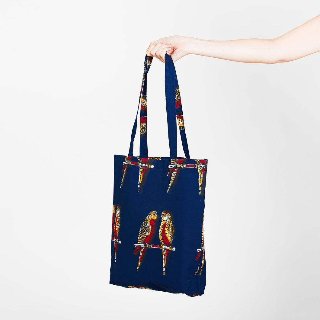 Tote Bag Blue Parrots