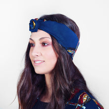Load image into Gallery viewer, Samosa Headwrap Blue Parrots