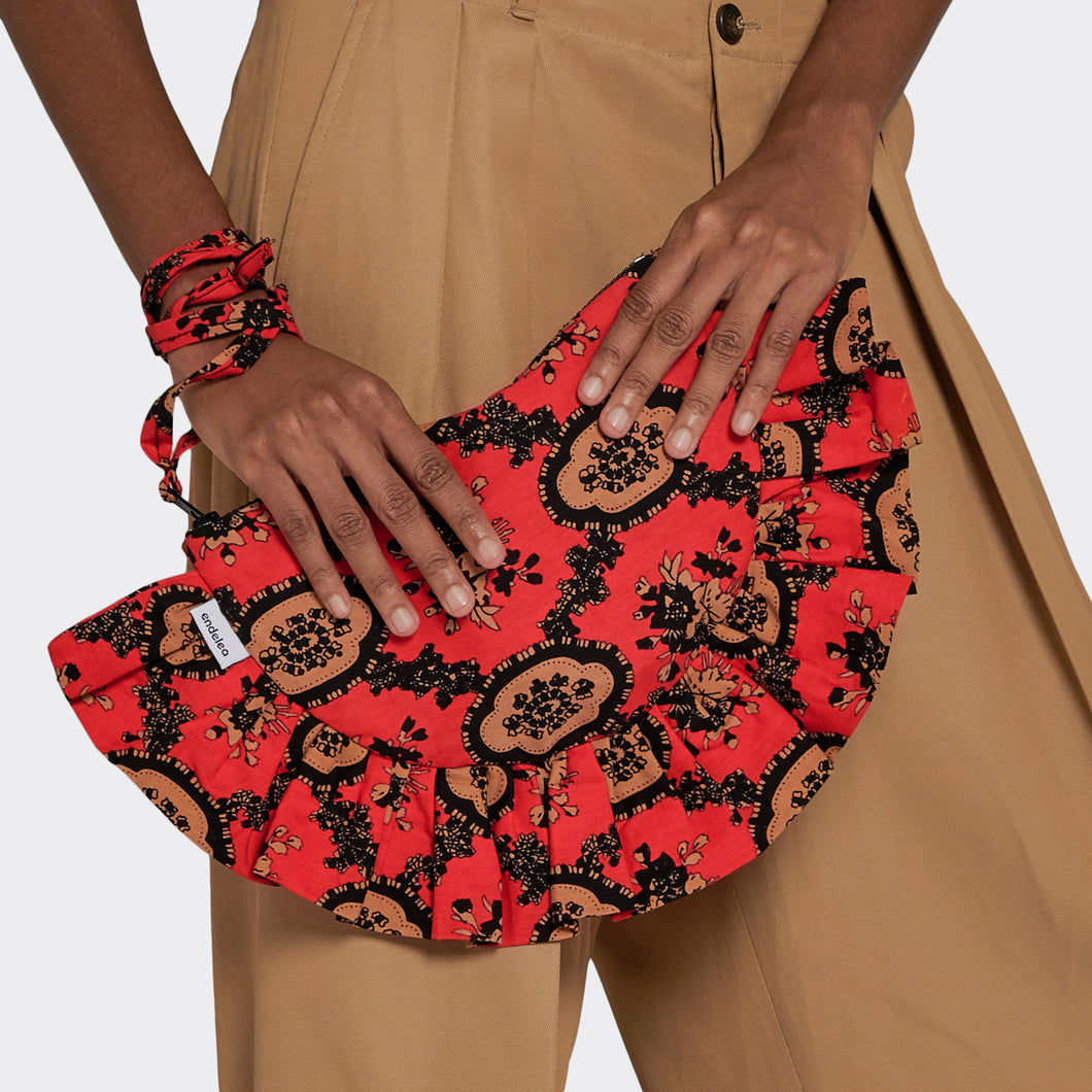 Ruffled Clutch Red Romance