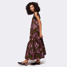 Load image into Gallery viewer, Flounced maxi dress Purple Flow