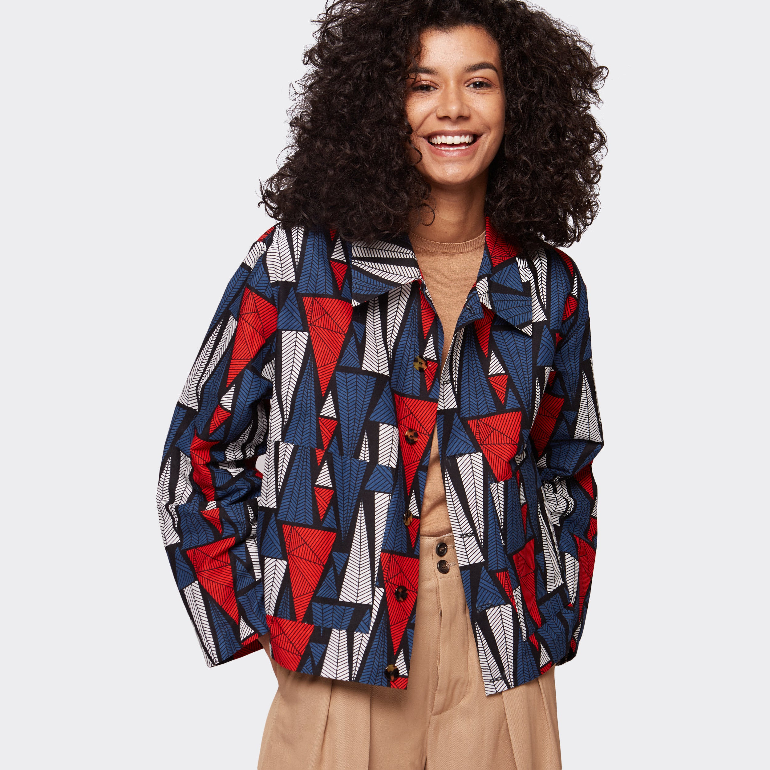 Buttoned jacket Triangles Forest