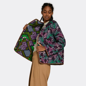 Reversible Quilted Jacket Neon Leaves