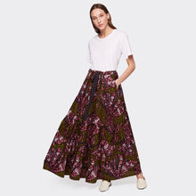 Load image into Gallery viewer, Flounced maxi skirt Purple Flow