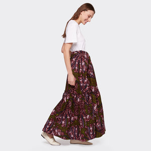 Flounced maxi skirt Purple Flow