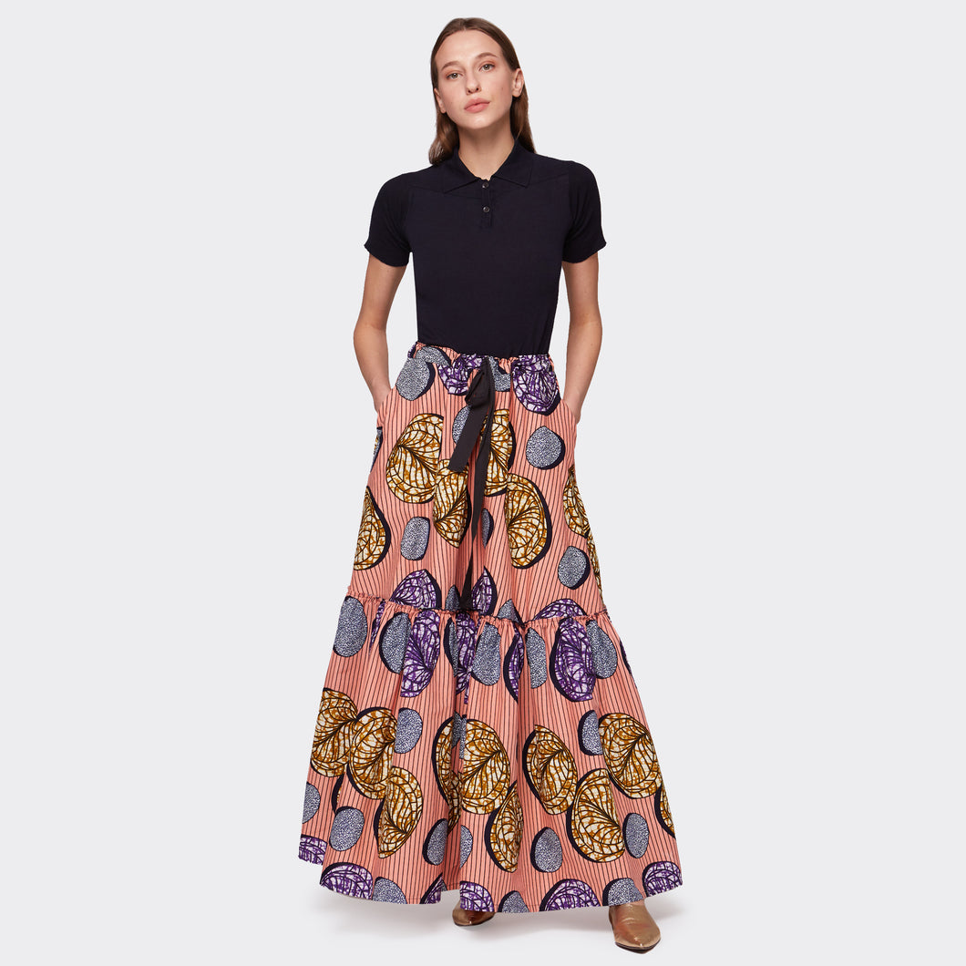 Flounced maxi skirt Pink Abstraction