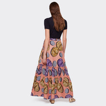 Load image into Gallery viewer, Flounced maxi skirt Pink Abstraction