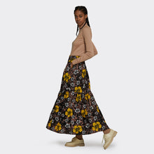 Load image into Gallery viewer, Flounced maxi skirt Winter Hibiscus