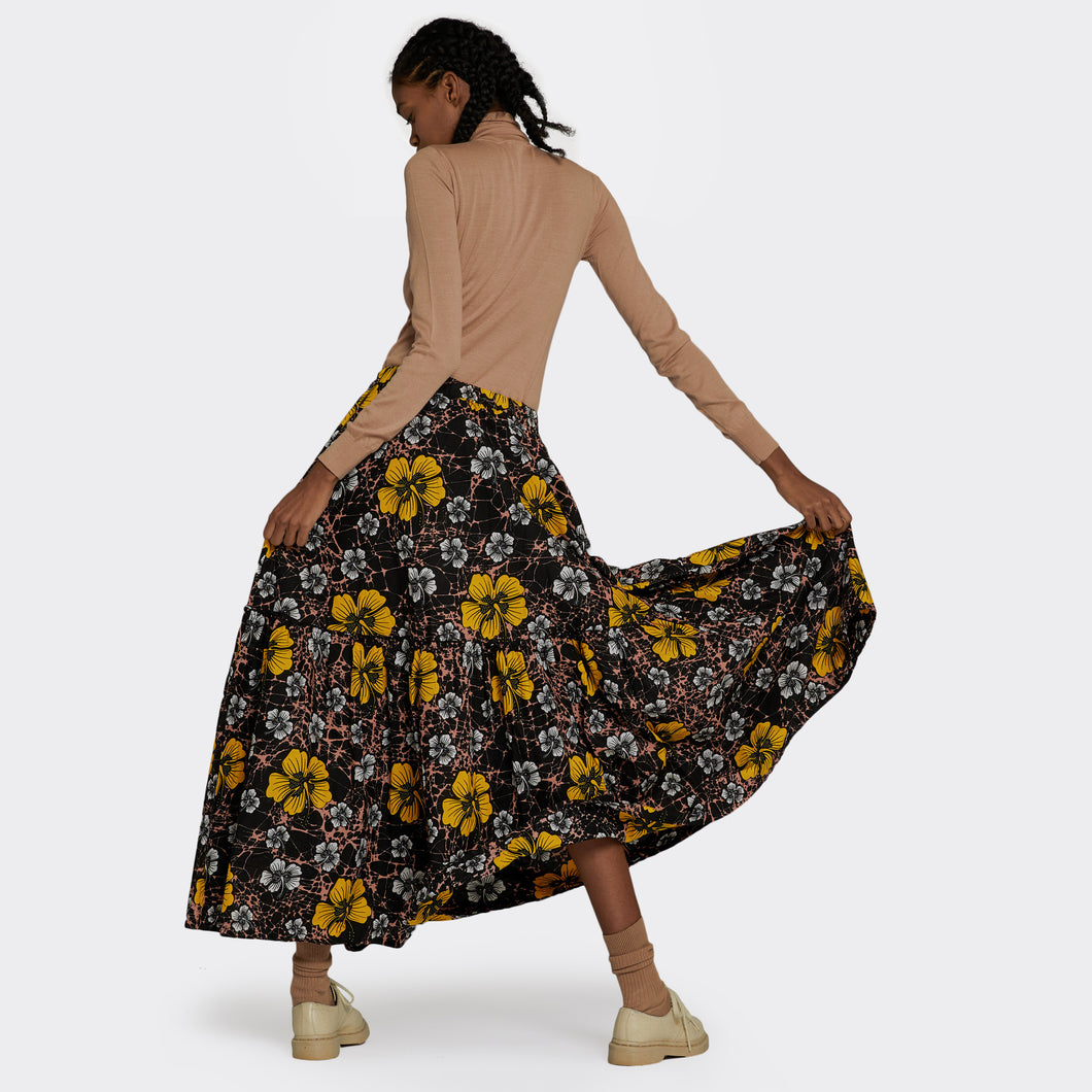 Flounced maxi skirt Winter Hibiscus