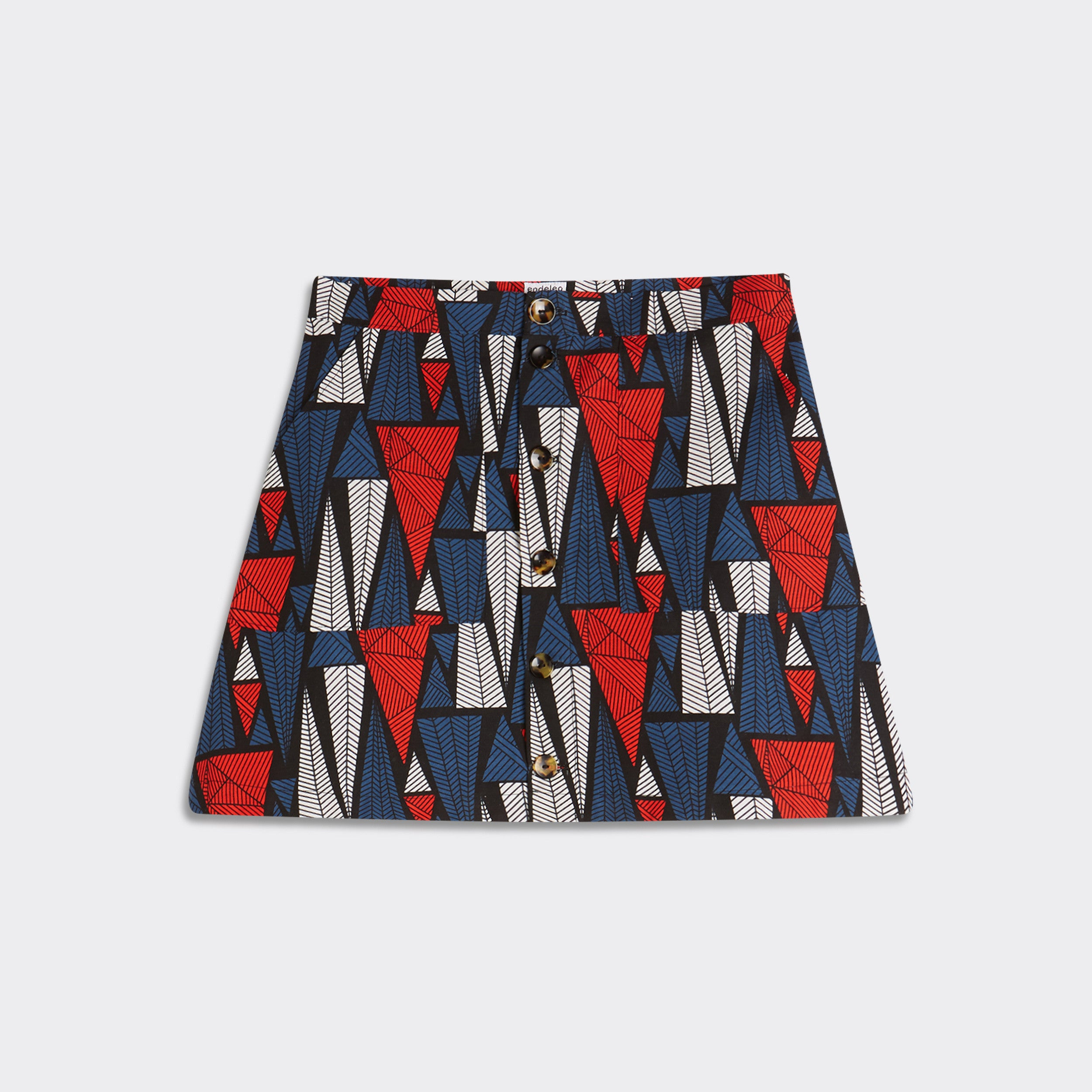 Buttoned mini skirt Triangles Forest