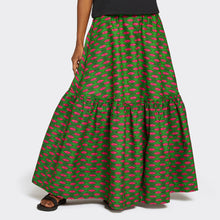 Load image into Gallery viewer, Flounced Maxi Skirt Pink Eyes